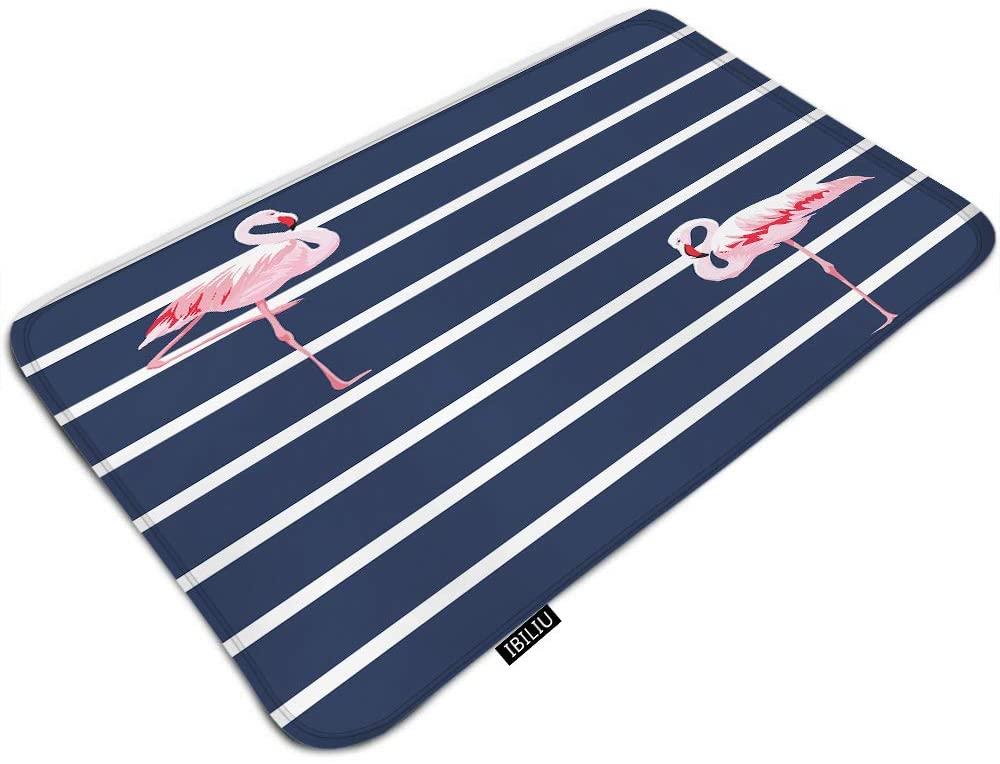 IBILIU Pink Flamingo Door Mat Bath Mat,Blue White Stripe Exotic Bird Elegant Animal Tropical Wildlife Non Slip Indoor Outdoor Doormat Bath Mats for Bathroom Rug Bathroom Floor mat 19.5x31.5