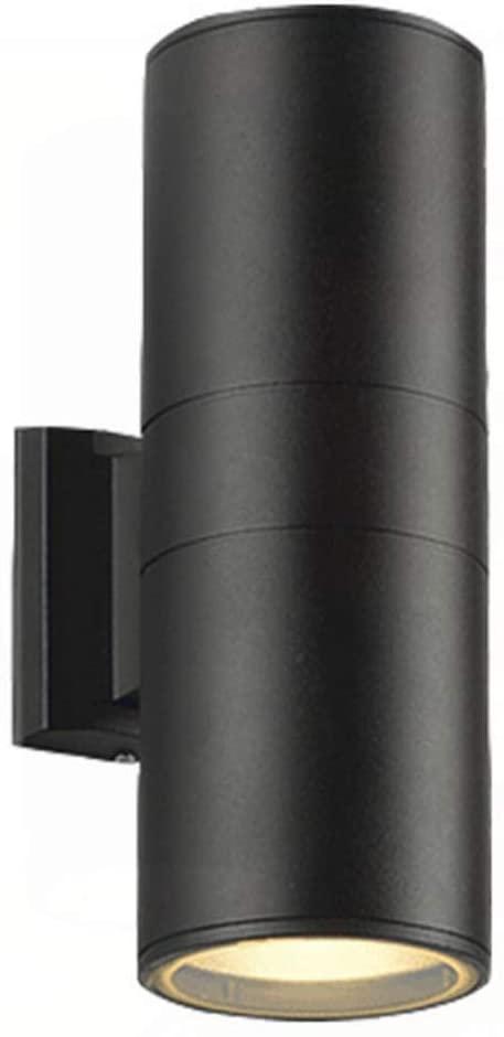 AOBOLA Modern LED Aluminum Waterproof Commercial Lighting Wall Light, Outdoor Courtyard Garden 6W2lights Black Wall Mount 86V-265V Warm White 3000K Indoor Wall Lamp (Black, 12W)