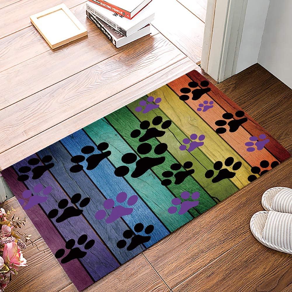 Funny Doormats for Entrance Way Indoor Front Door Welcome Rugs Colorful Pet Dog Footprint Paw Rustic Wood Printed Non-slip Bath Mat Kitchen Mat Floor Carpet for Bedroom/Office 20x31.5inch
