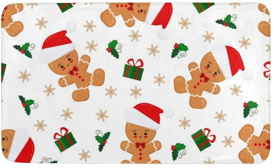 CUXWEOT Christmas Cute Gingerbread Man Symbols Door mat Entrance Door Rugs Non-Slip Backing Ultra Absorbent Welcome Doormat Decor Office Garden Kitchen Mats 23.6 x 15.7 Inch