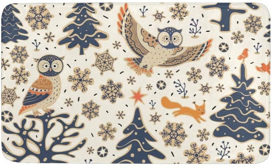 CUXWEOT Christmas Owl Snowflake Door Mat Entrance Door Rugs Non-Slip Backing Ultra Absorbent Welcome Doormat Decor Office Garden Kitchen Mats 23.6 x 15.7 Inch