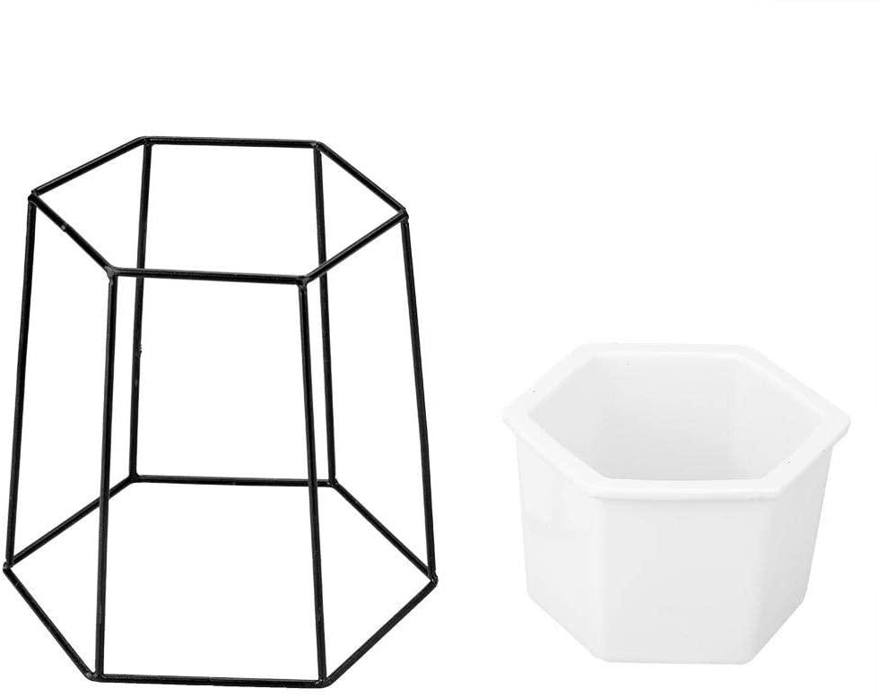 Plant Stand - KSTE Ceramic Flower Pot and Round Geometric Metal Rack,Garden Plant Display.(White Pot+Golden Frame and White Pot+Black Frame)