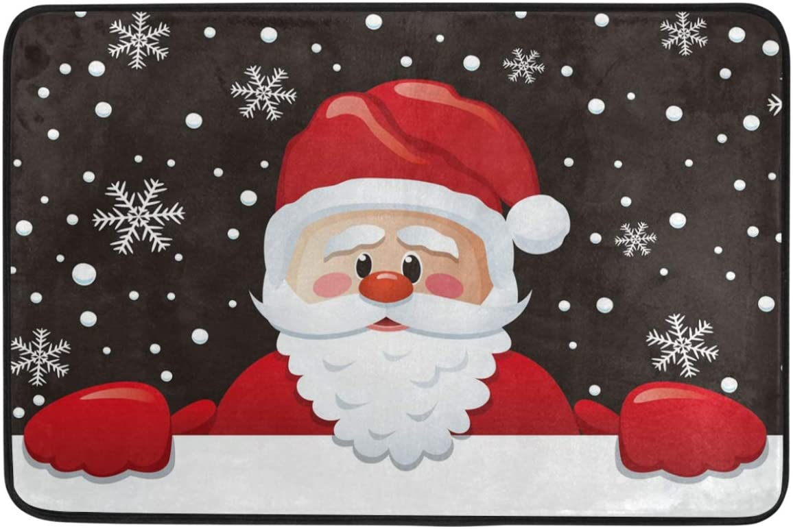 Christmas Decorative Doormat Home Decor Santa Claus White Snowflakes Holiday Greeting Welcome Indoor Outdoor Entrance Bathroom Floor Mats Non Slip Washable Winter Hoilday Pet Food Mat, 24x16 inch