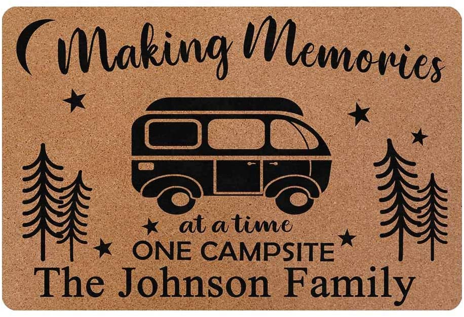 MyPhotoSwimsuits Personalized Camper Doormat 24 X 16 Indoor Outdoor with Making Memories One Campsite at A Time Welcome Door Mat Area Rug Decor Custom Camping