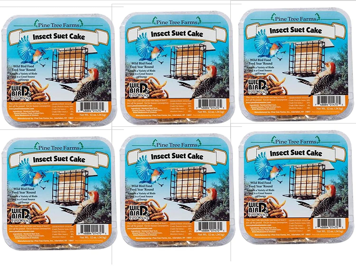 Pine Tree Farms Insect Suet Cakes 12 oz. 1470 Made in USA (6)