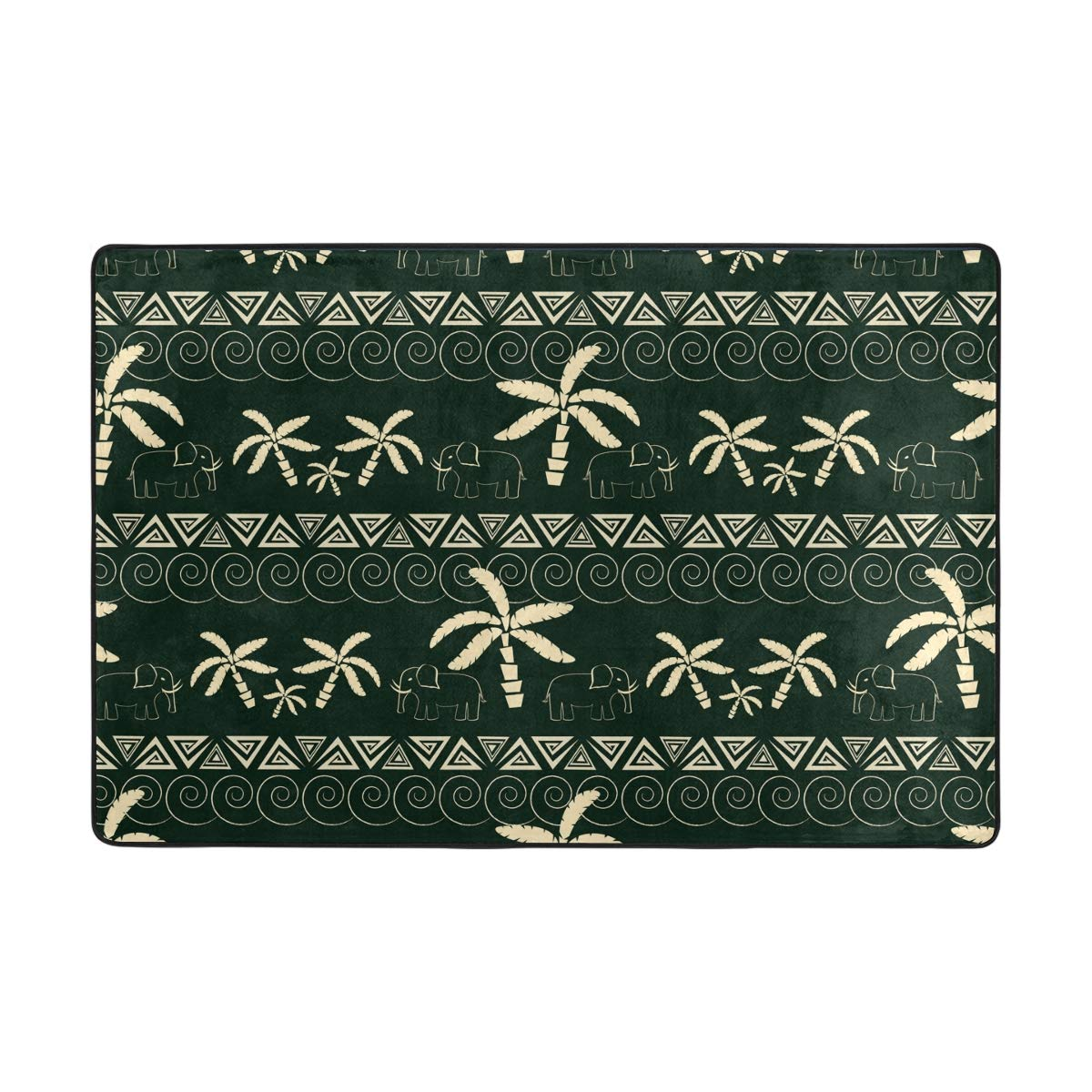 ALAZA Tropical Palm Tree & Elephant Door Mat Inside Outside Non Slip Doormat for Entrance Way Outdoors Indoor Soft Washable Bath Floor Mats One Piece 24x36 Inch
