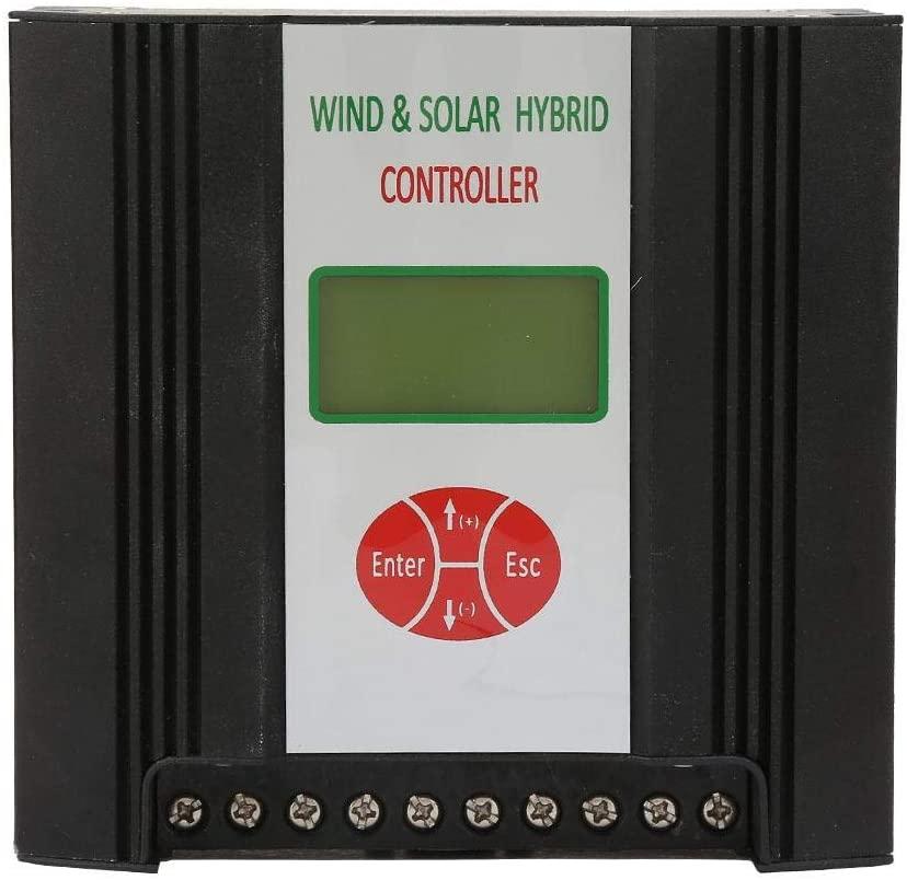 Wind Solar Hybrid Charge Controller, 12V Solar Charge Controller Wind Charge Regulator with LCD Display, Waterproof Solar Panel System (Wind: 300W/400W Solar: 150W)(Wind 300W+Solar 150W)