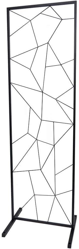 Koyal Wholesale Wedding Backdrop Floor Stand, Geometric, Black Large 6 Feet Tall Metal Modern Geometric Floral Stand Panel for Indoor Outdoor Ceremony Decorations, Reception, Photography