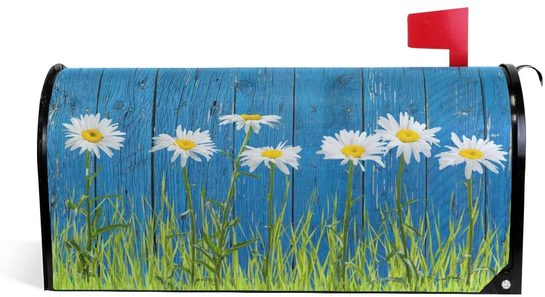 WOOR Flowers On A Fence Magnetic Magnetic Mailbox Cover Standard Size for Garden Yard Outdoor Decorations-18 x 20.8