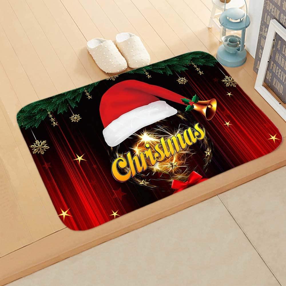 DAWEIF 6040cm Fleece Living Room Bathroom Christmas Festive Decor Floor Mat Cane Snowman Rugs Doormat(7)