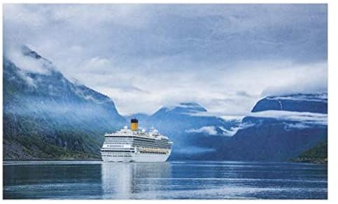Lunarable Holiday Doormat, Cruise Liners on Hardanger Fjorden, Norway Mountain Summer Holidays Landscape, Decorative Polyester Floor Mat with Non-Skid Backing, 30