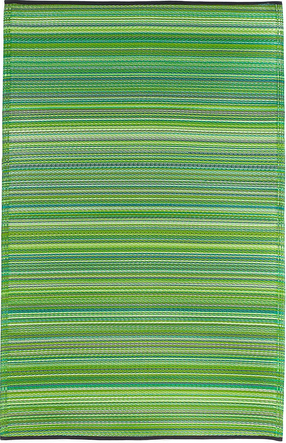 Fab Habitat Reversible Rugs   Indoor or Outdoor Use   Stain Resistant, Easy to Clean Weather Resistant Floor Mats   Cancun - Green, 6' x 9'