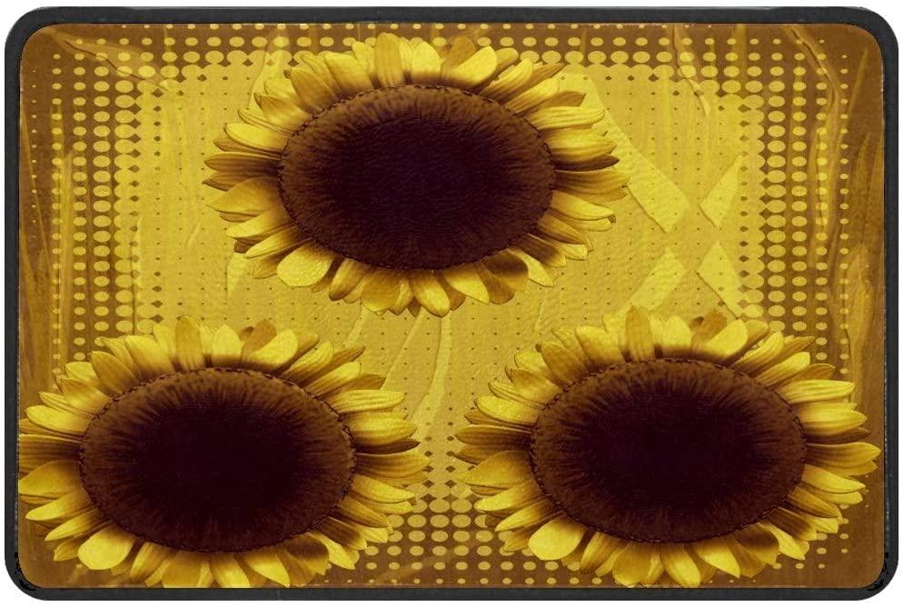 Sunflower Yellow Blossom Doormat Rug Easy to Clean Non Slip Backing Entry Way Doormat Floor Mat for Patio Front Door Entry Garage Kitchen Bathroom Laundry Room All Weather Indoor/Outdoor