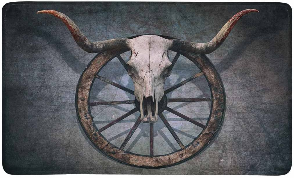 InterestPrint Vintage Bull Skull and Old Western Wagon Wheel on Scratched Wall Doormat Anti-Slip Entrance Mat Floor Rug Indoor/Outdoor Door Mat Home Decor, Rubber Backing Large 30