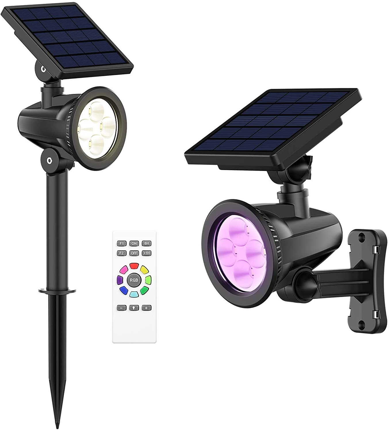 intelamp 2Pack Solar Spotlight, Outdoor Lights Waterproof, Remote Control On Brightness and Color Change, Long Time High Brightness, for Yard Deck Patio Pool Pathway