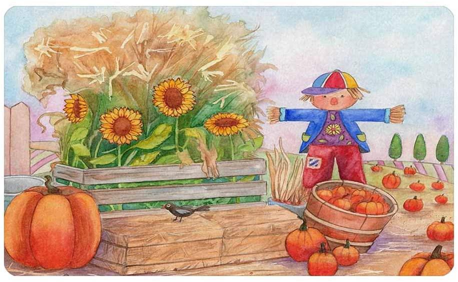 InterestPrint Scarecrow, Birds, Pumpkins and Sunflowers Front Door Rug 30
