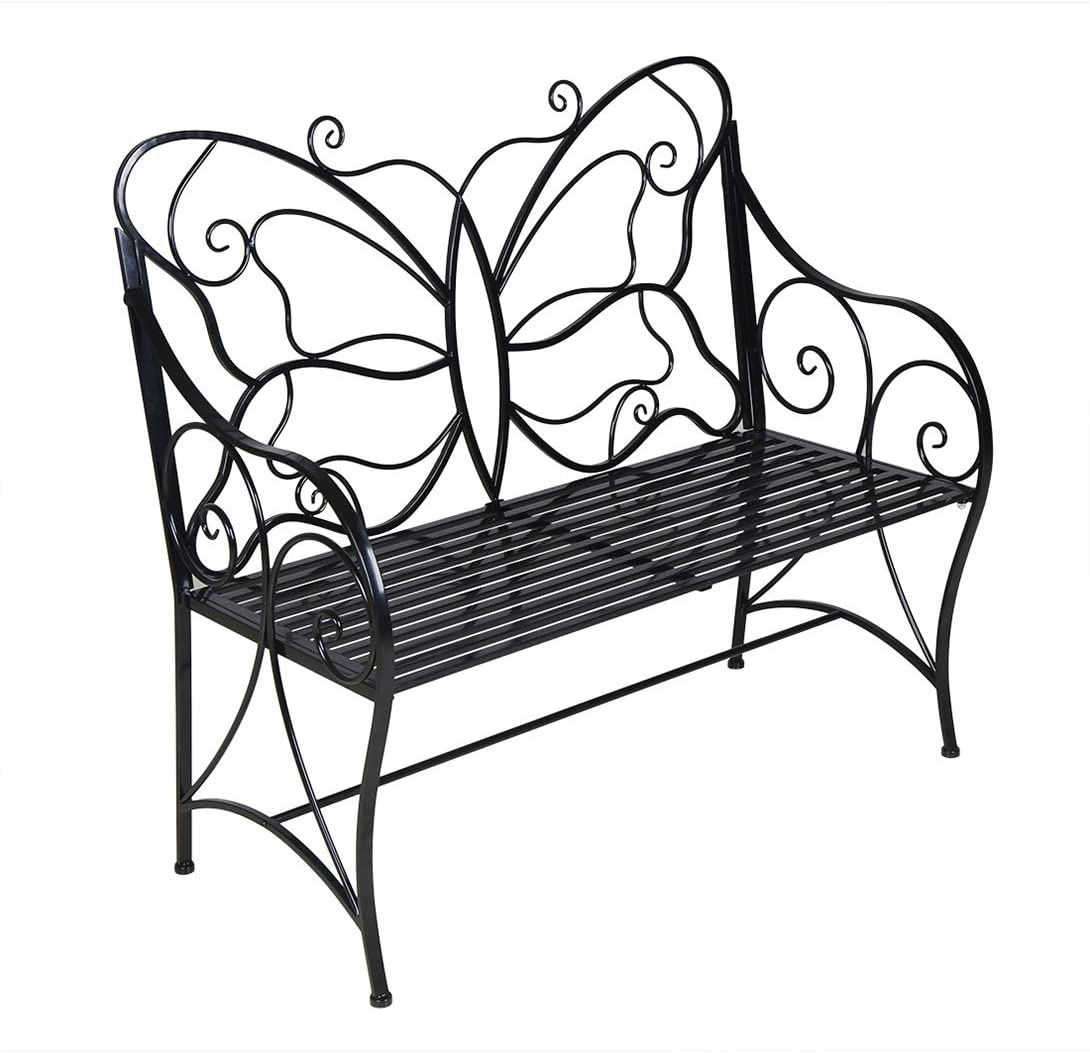 HLC Metal Antique Garden Bench Outdoor Double Seat with Decorative Butterfly Cast Iron Backrest