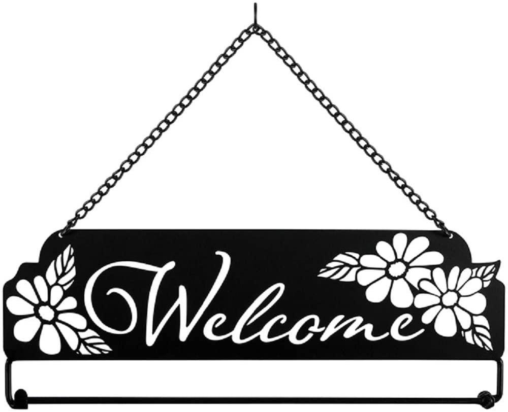 Carson 60997 Laser Cut Daisy Welcome Wall Hanger, Black, White