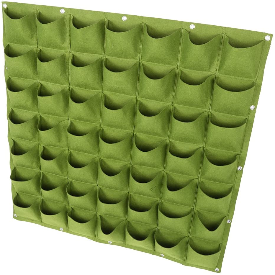 DERCLIVE 49 Pockets Vertical Felt Garden Wall Hanging Planter Plants Growing Container Bag,Green/Black