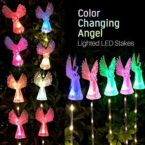SOOTOP Solar Angel Light, Solar Power Angel Stake Lights Garden Outdoor Grave Ornaments Stake Colorful Lights Path Luminous Lamps Wings