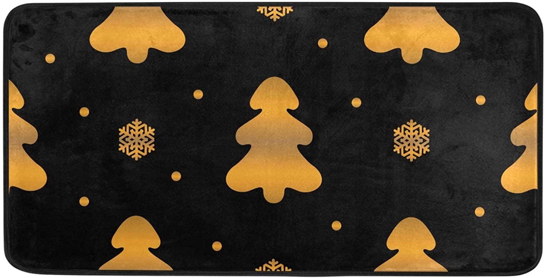 Qilmy Indoor Doormat Floormat Non Slip Door Rug Washable Floor Mats for Home Kitchen Bedroom Outdoor 39 x 20 Inch, Cute Pine Tree for Christmas