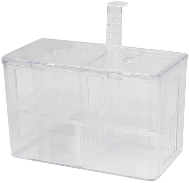 Balacoo Fish Breeding Box Acrylic Aquarium Fish Isolation Box with Hook Aquarium Acclimation Hatchery Incubator for Baby Fishes Shrimp Clownfish Guppy