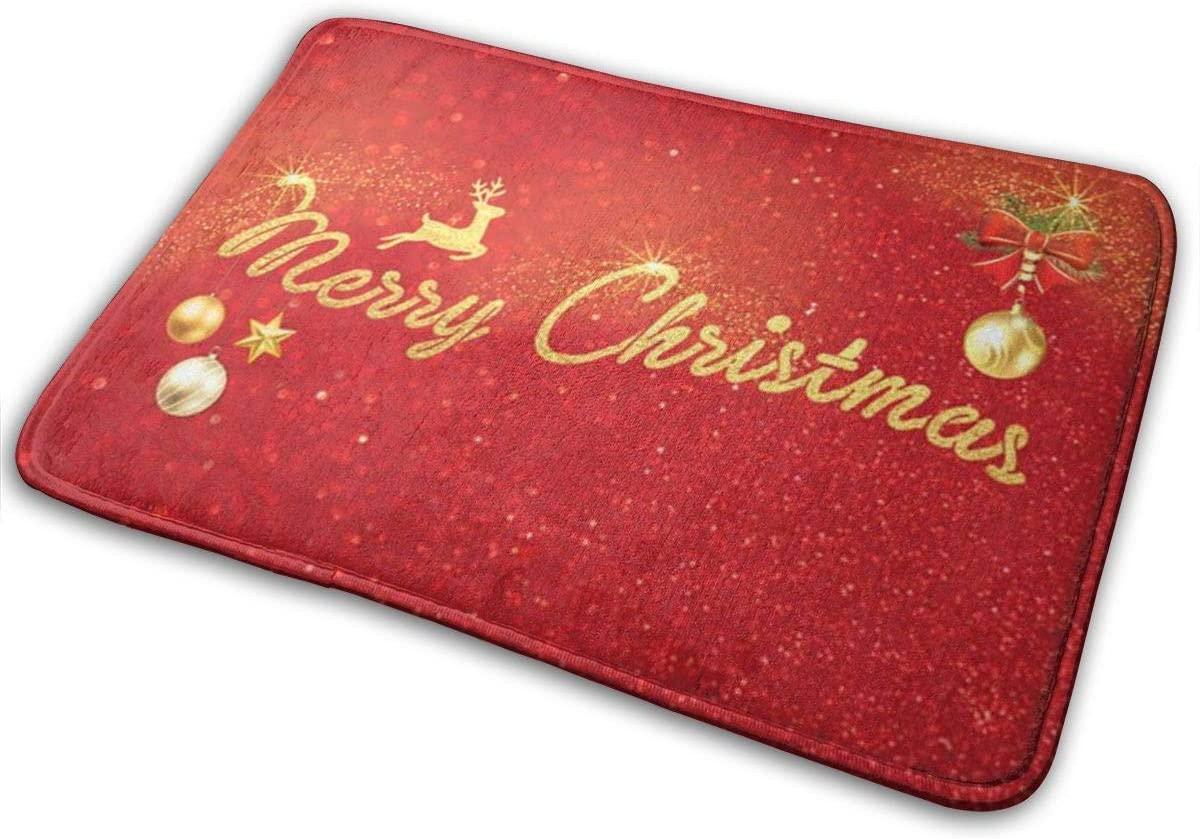 Jiinn Durable Rubber Door Mat,16 X 23 Inch, Heavy Duty Doormat for Indoor Outdoor, Waterproof, Easy Clean, Low-Profile Rug Mats for Entry, Patio,Merry Christmas