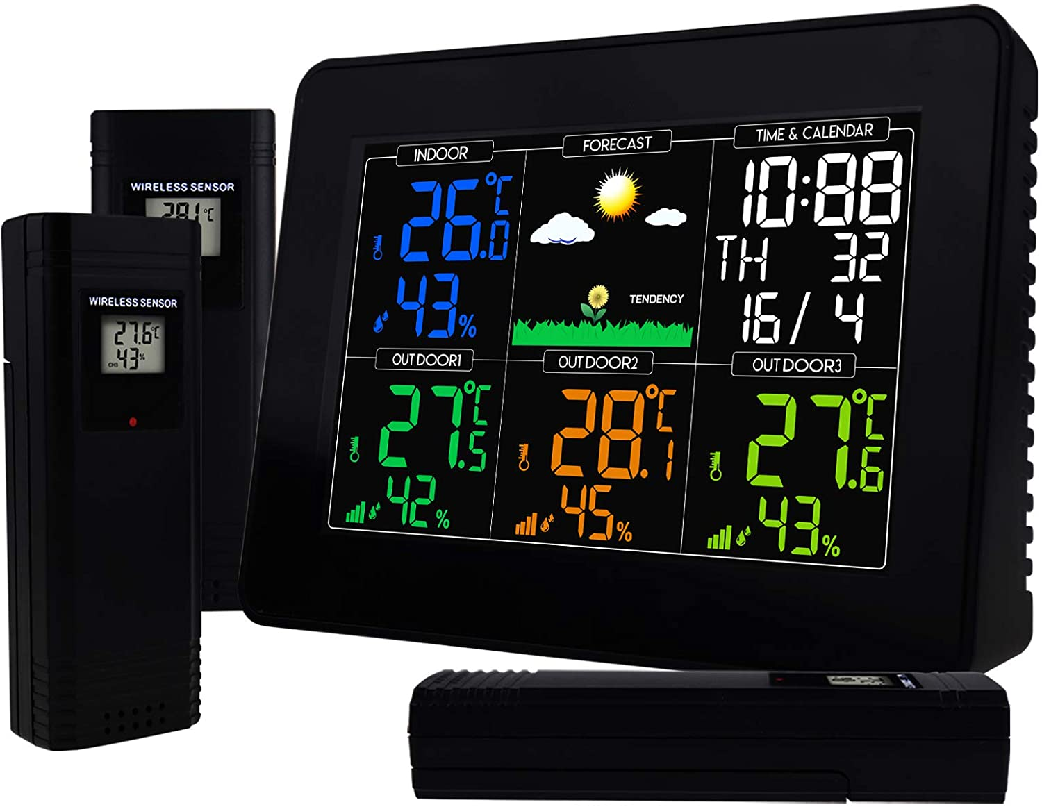 TEKCOPLUS Digital Color Display Wireless Weather Station with Three Remote Sensors 12/24 Hour Format Alarm & Snooze Function Sunny, Partly Cloudy, Cloudy, Rainy, Snowy Forecast