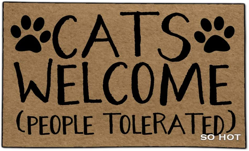 So Hot Funny Door mat Custom Indoor Cats Welcome People Tolerated 18X30 Inch Home and Office Decorative Entry Rug Garden/Kitchen/Bedroom Mat Non-Slip Rubber