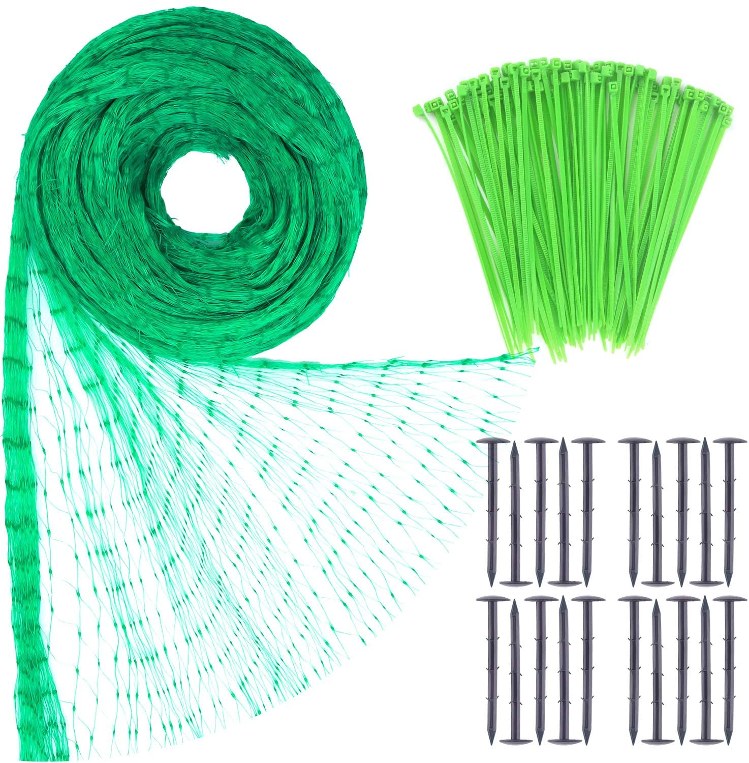 TUPARKA 2m x 10m Green Anti-Bird Netting Protect Against Rodents Birds with 100Pcs Nylon Cable Ties and 20 Pcs Garden Securing Pegs