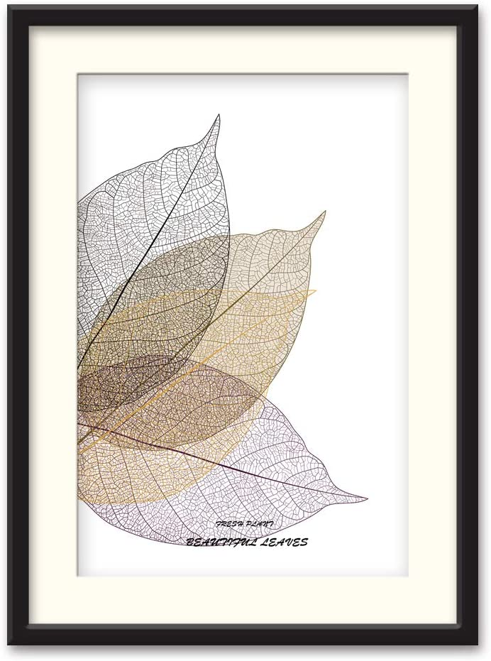 NWT Black Paper Framed Canvas Wall Art for Living Room, Bedroom Simple Beautiful Leaves Canvas Prints for Home Decoration Ready to Hanging - 23x31 inches