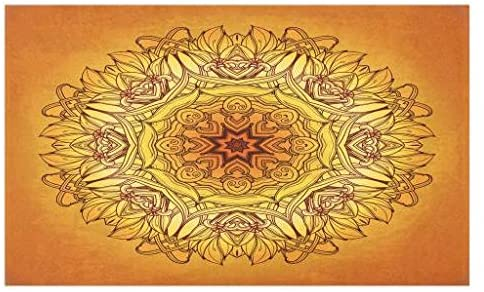 Lunarable Yellow Mandala Doormat, Abstract Vintage Frame Antique Style, Decorative Polyester Floor Mat with Non-Skid Backing, 30
