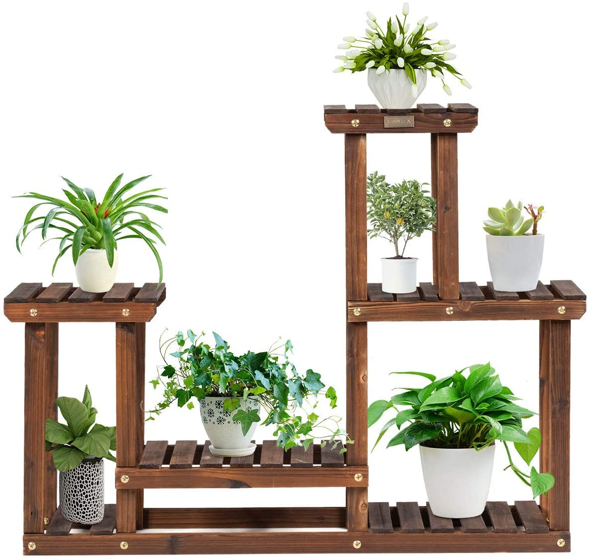 Giantex Wood Plant Stand, 4 Tier Multiple Flower Pot Holder Display Shelf for Home Patio Garden flower shop, Outdoor Indoor Higher and Lower Plant Display Rack (4 Tiers Accommodate for 7-9 Flowerpots)
