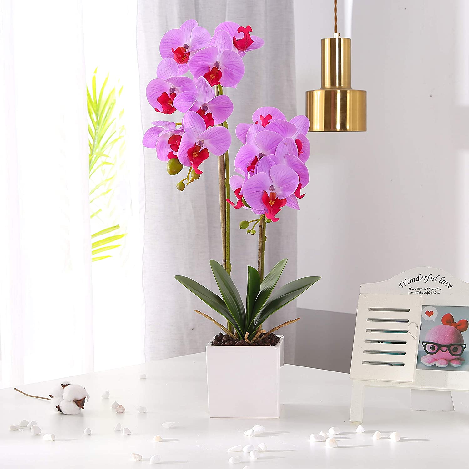 KINBEDY Artificial Bonsai Silk Orchids Phalaenopsis with Vase Home Office Decoration Party Wedding Decor,Purple.