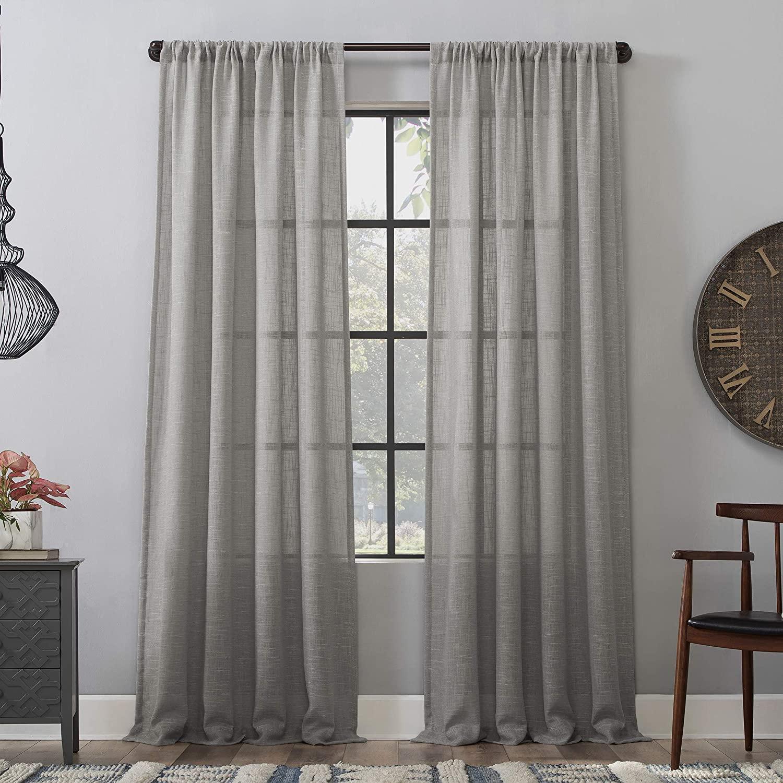 Clean Window Basketweave Anti-Dust Allergy/Pet Friendly Sheer Curtain Panel, 50