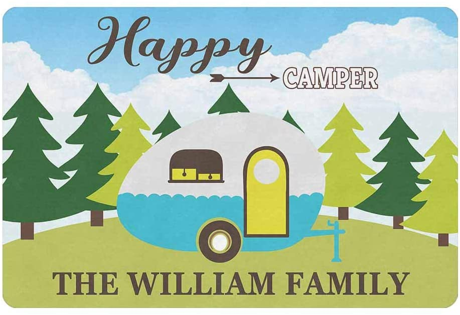 MyPhotoSwimsuits Personalized Your Family Name Custom Colorful Happy Camper Doormat 24