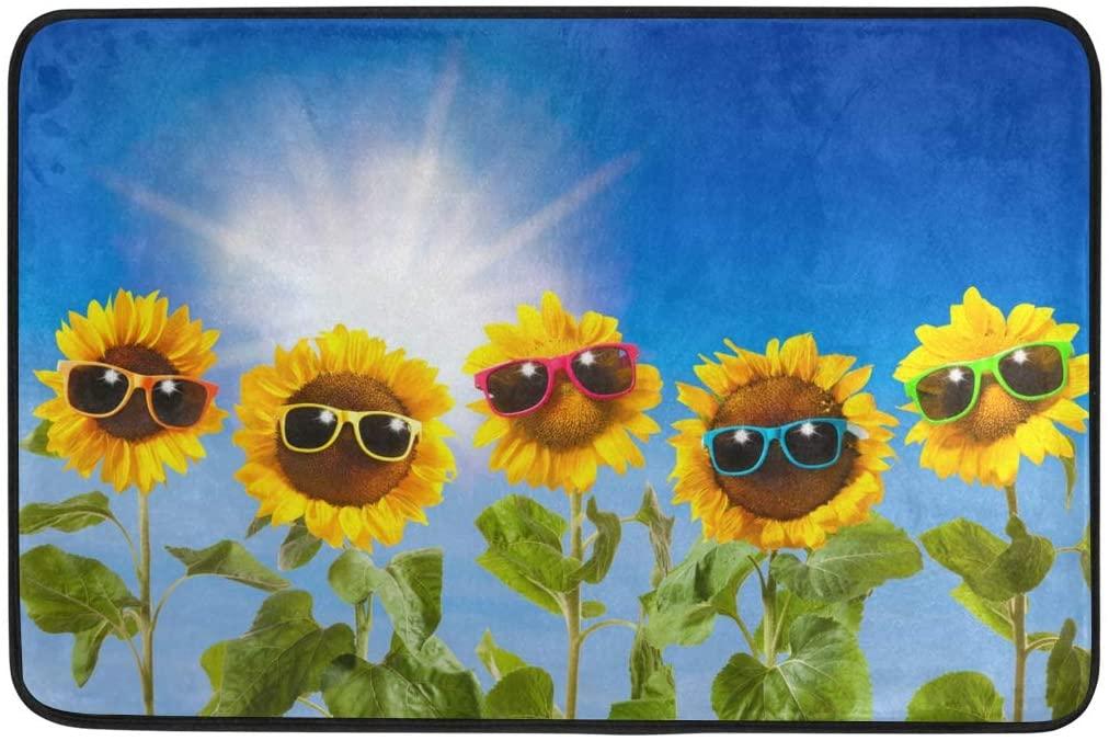 Ollabaky Sunflowers with Sunglasses Doormat Non-Slip Washable Entrance Bathroom Door Floor Mats Indoor Outdoor Decor Rug 23.6
