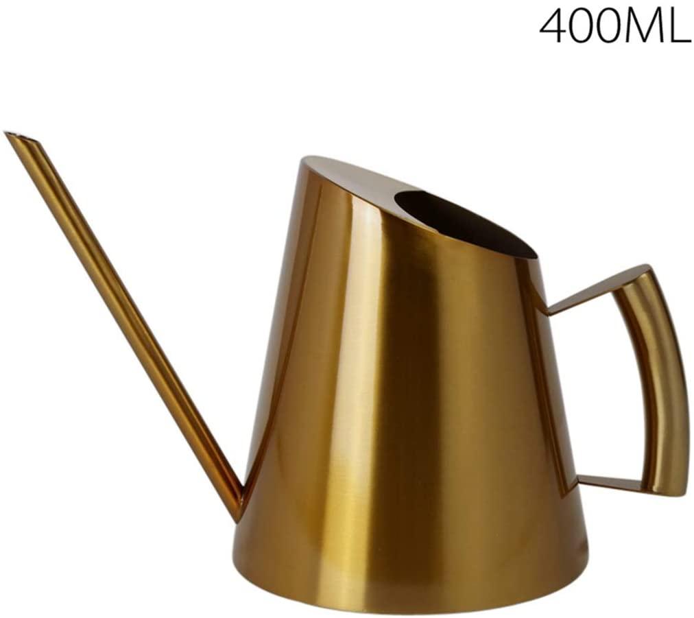 UUME Luxury Flower Garden Stainless Steel Long Spout Kettle Plant Sprinkling Pot Sprinkler Spray Bottle Watering Can(400ml Gold)