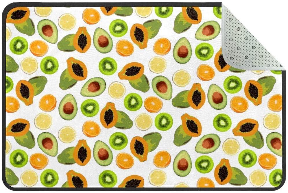 Tropical Papaya Avocado Doormat Rug Easy to Clean Non Slip Backing Entry Way Doormat Floor Mat for Patio Front Door Entry Garage Kitchen Bathroom Laundry Room All Weather Indoor/Outdoor