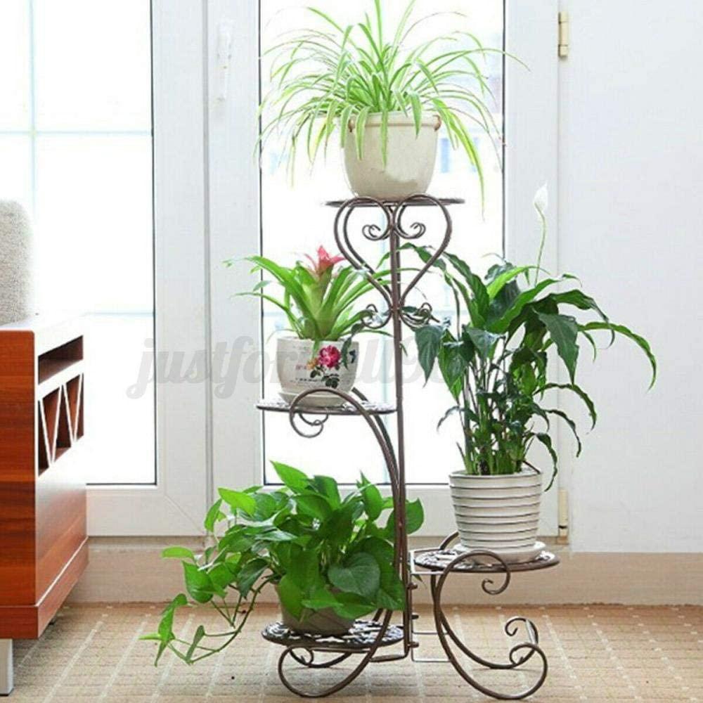 Metal Plant Stand 32'' 4 Tier Metal Plant Stand Garden Decor Planter Holder Flower Pot Shelf Rack