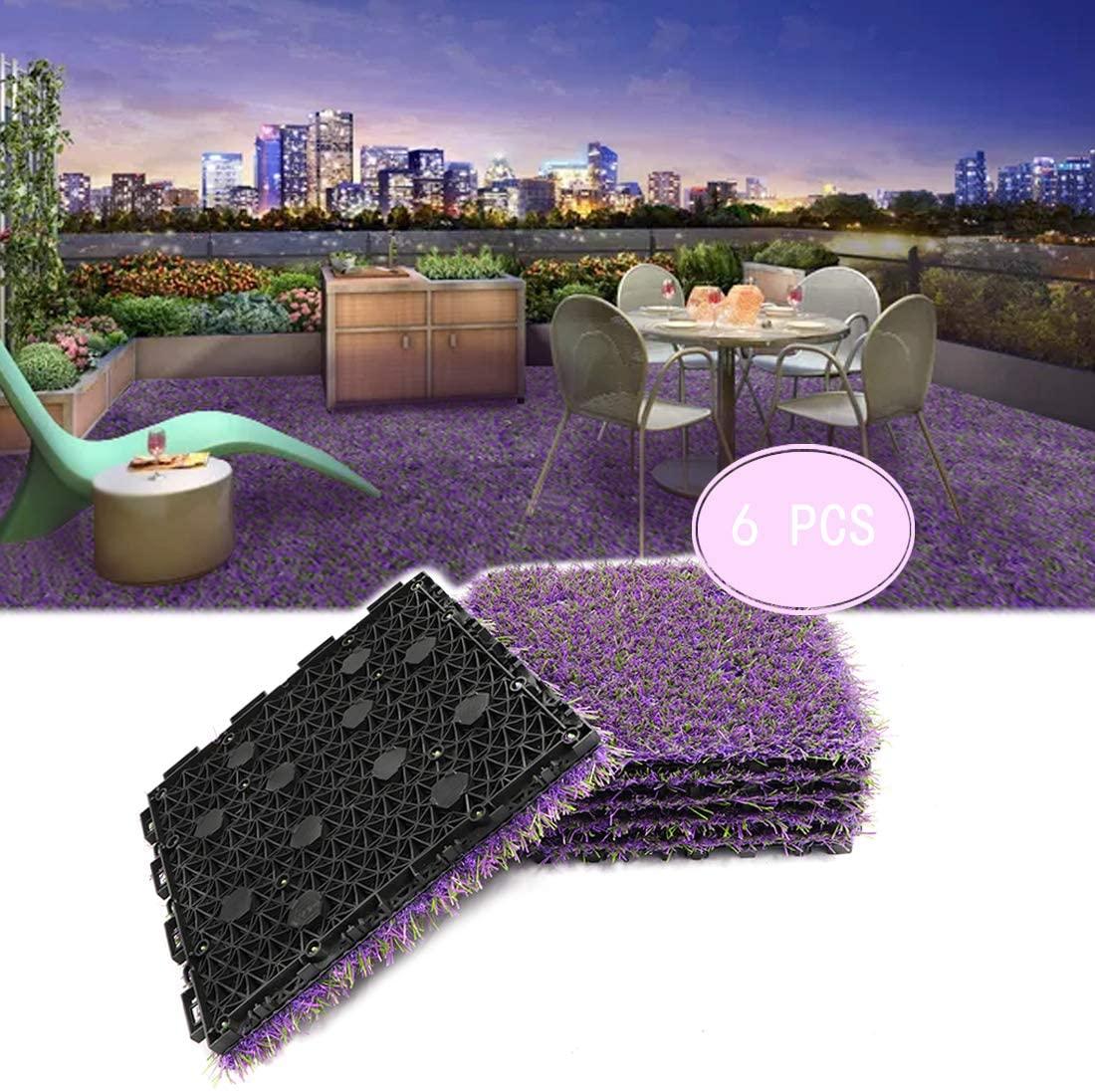 PROGOAL Artificial Lavender Turf Tile Fake Lavender Flooring Mat Interlocking Self-draining 12''x12'', 1.7'' Height (1.38in Grass)