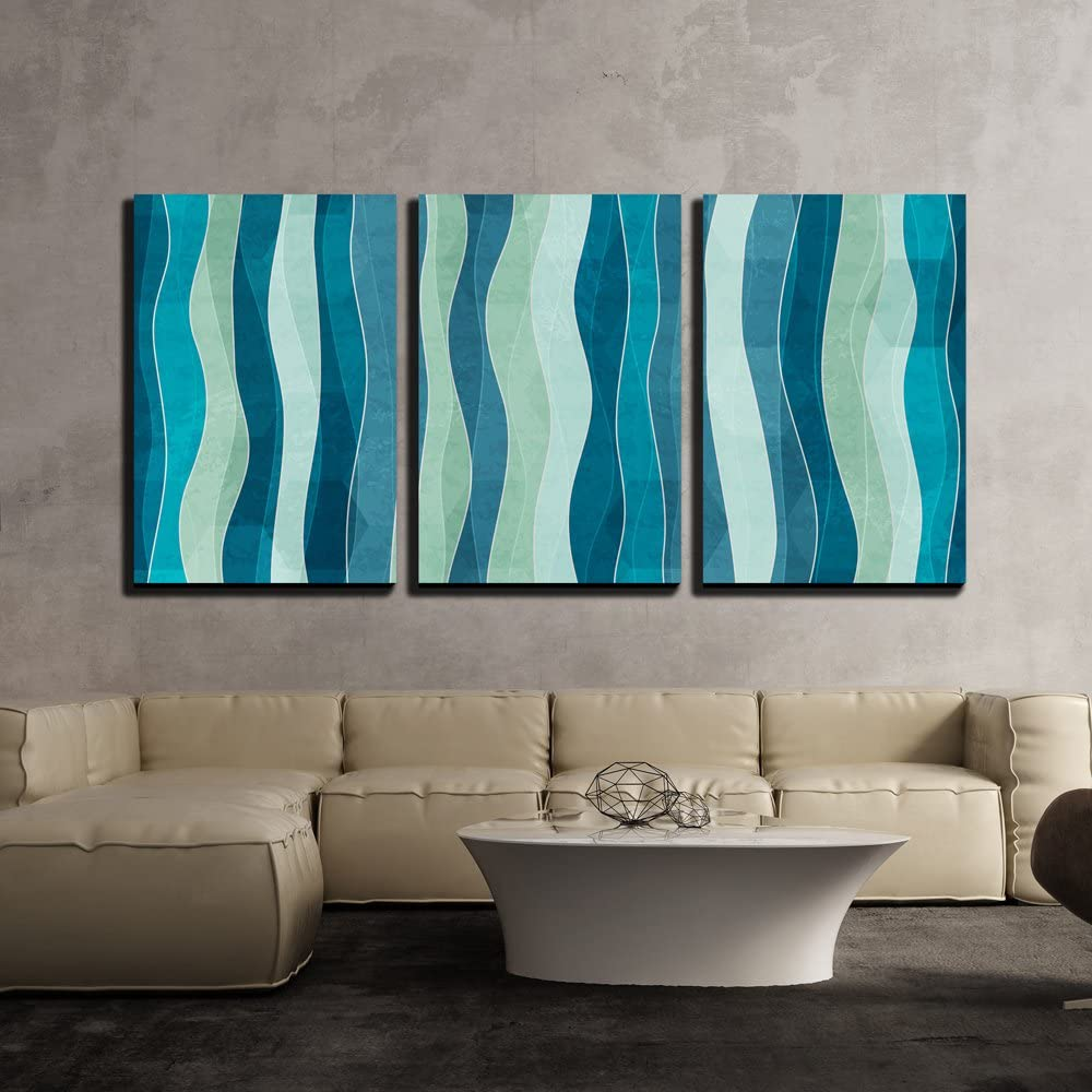 wall26 - 3 Piece Canvas Wall Art - Vector - Abstract Wave Seamless Pattern with Grunge Effect - Modern Home Art Stretched and Framed Ready to Hang - 24