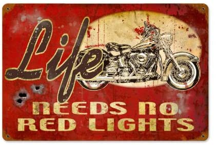 Old Time Signs No Red Lights Metal Sign Wall Decor 12 x 18