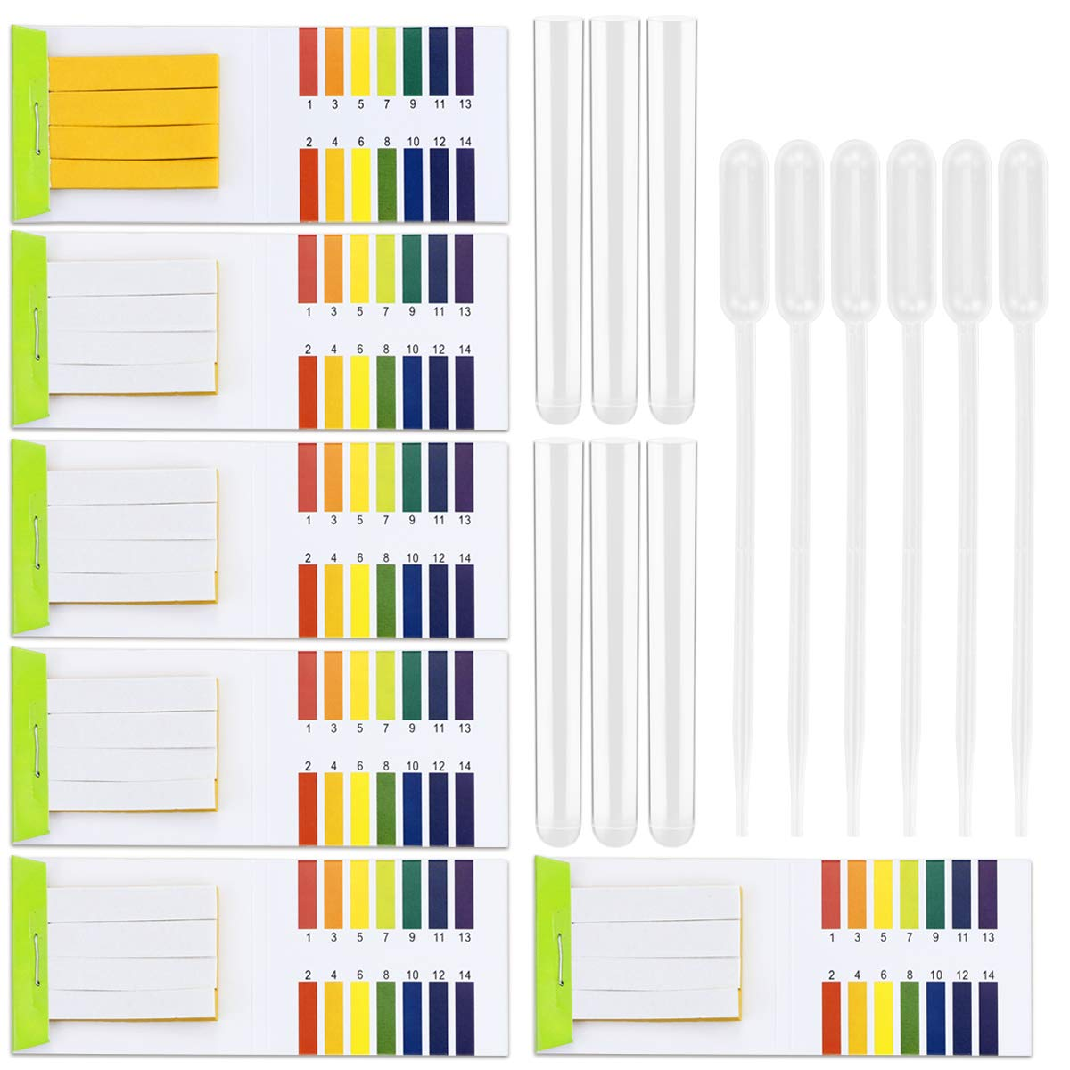 Kuqqi 6 Pack pH 1-14 Test Paper Universal Extensive Application Acid Test Paper Litmus Test Paper 480 Strips PH Test for Water Soil Testing