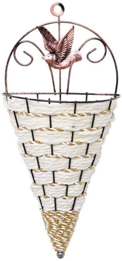 Hankyky 1Pcs Nature Wicker Flower Basket Wall Hanging Pot Planter Rattan Vase Basket for Garden Home Decoration