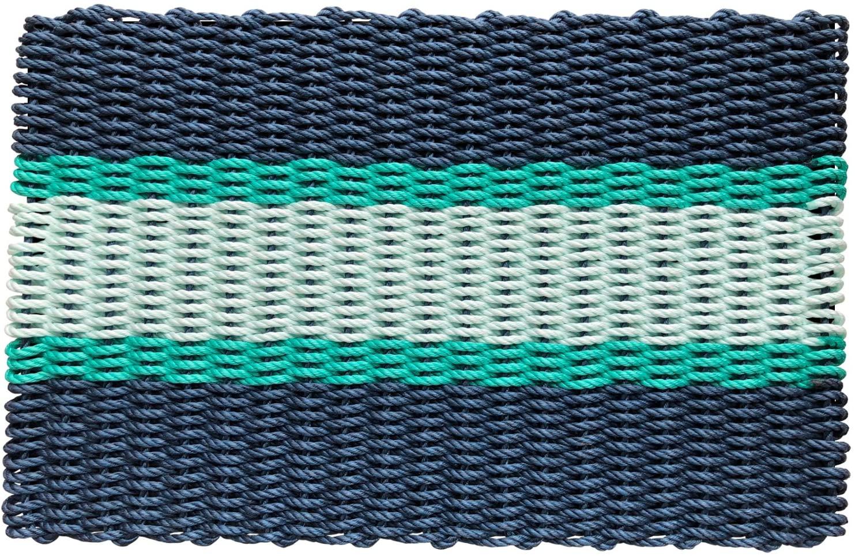 Wicked Good Lobster Rope Doormats, Handwoven Nautical Rope Doormats (18 x 30, Navy, Green, Seafoam)