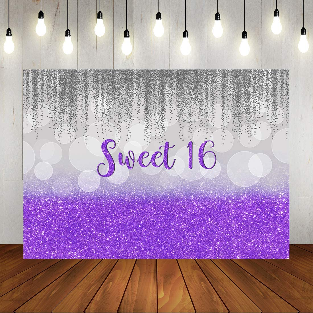 Sweet 16th Birthday Party Backdrop Sliver Purple Bokeh Glitter Girl's Sixteen Years Old Background Princess Shiny Happy Birthday Party Decorations Banner Cake Table Supplies 7x5ft