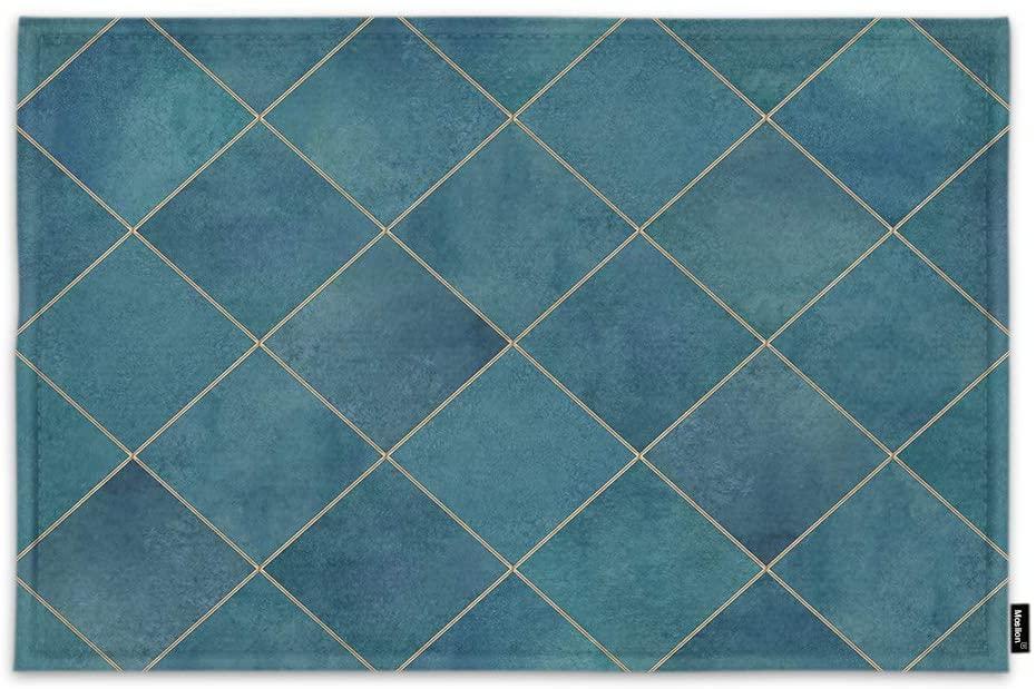Moslion Geometric Argyle Door Mat Abstract Modern Design Luxury Dark Teal Plaid Pattern Non Slip Funny Doormat for Outdoor Indoor Decor Entry Rug Kitchen Bedroom Mat 18 x 30 Inch