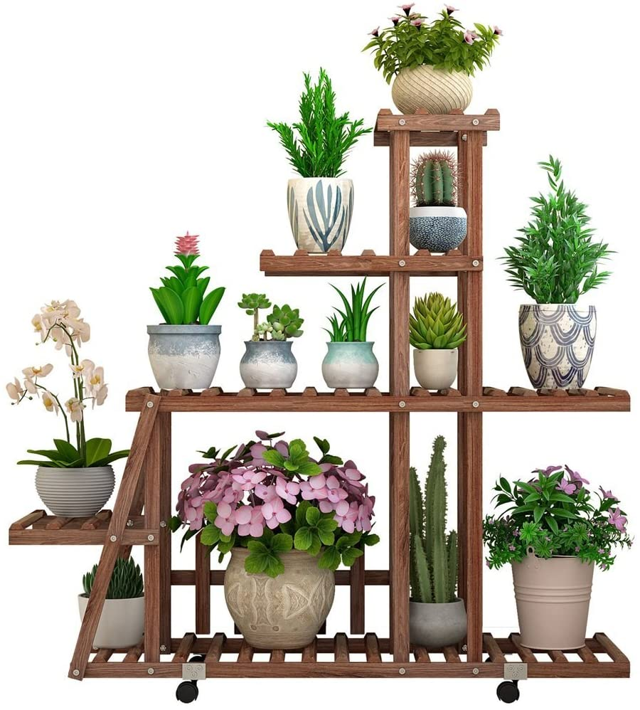 ZENGAI Solid Wood Flower Pot Shelf Mobile Wheel Ground Indoor and Outdoor Green Radish Multilayer Charcoal Color Plants Display Stand Plant Container (Color : A, Size : 98x25x88cm)