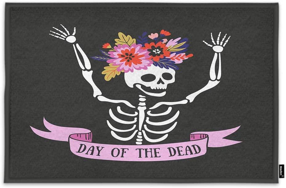 Moslion Funny Mexican Skeleton Door Mat in Floral Wreath Day of The Dead Halloween Pattern Non Slip Funny Doormat for Outdoor Indoor Decor Entry Rug Kitchen Bedroom Mat 15.7 x 23.6 Inch